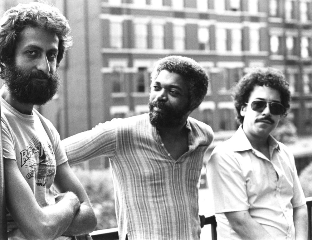 Armen Donelian Trio (  Stargazer   debut LP) with (l-r) Armen Donelian, Billy Hart and Eddie Gomez (1980)