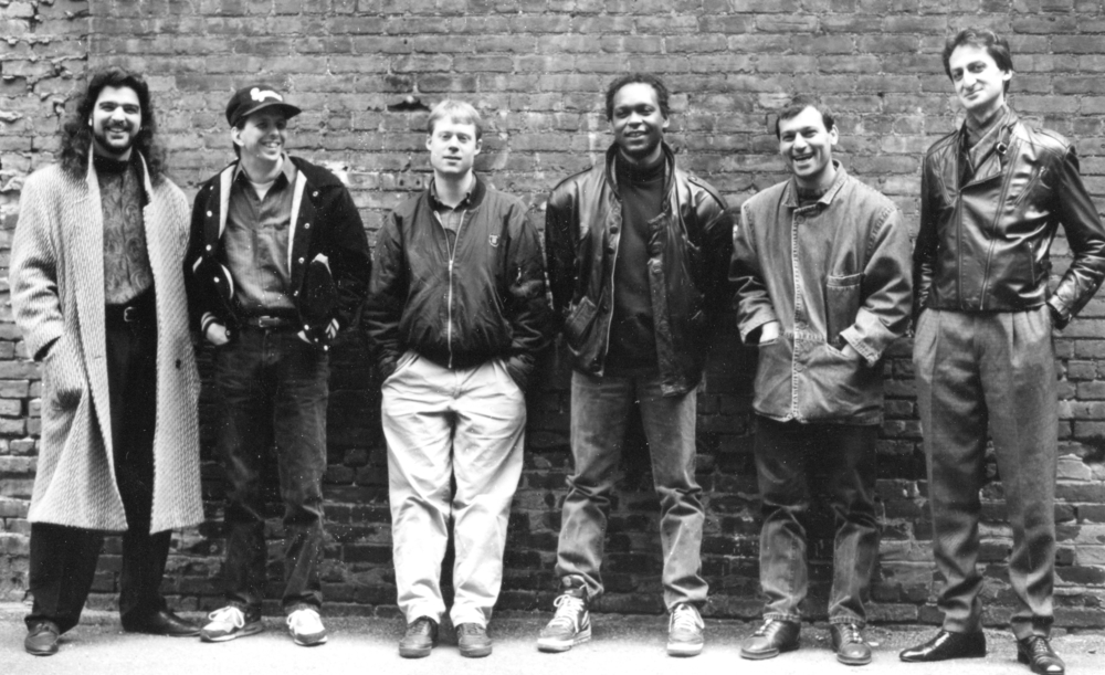 Armen Donelian Sextet (  The Wayfarer   CD) with (l-r) Barry Danielian, Dick Oatts, Bill Stewart, Anthoy Cox, Arto Tunçboyaciyan and Armen Donelian (1990)