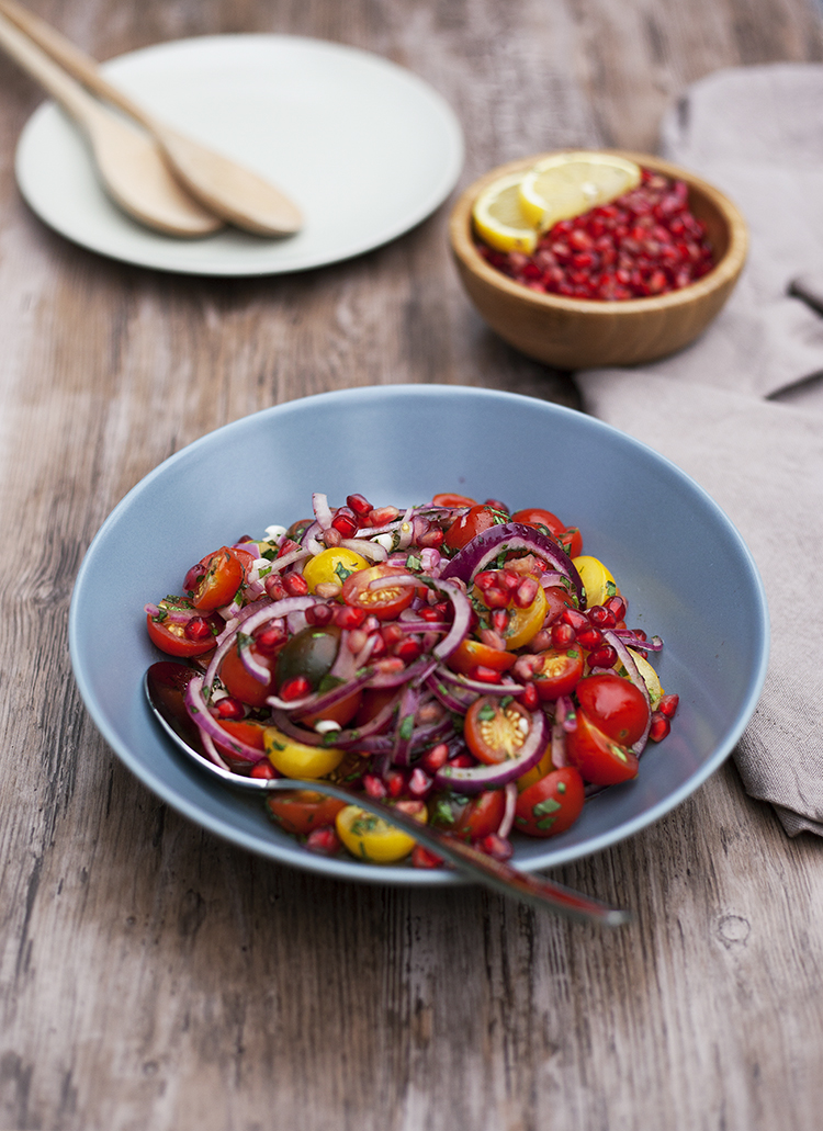 Tomato and red onion salad