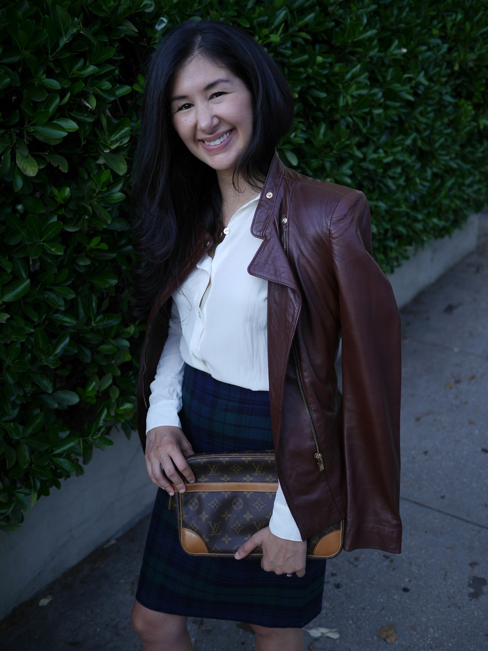 Fall Fashion J Crew Plaid Skirt, Brown Leather Zara Jacket, Chanel Flats, Everlane Round Collar Silk Shirt