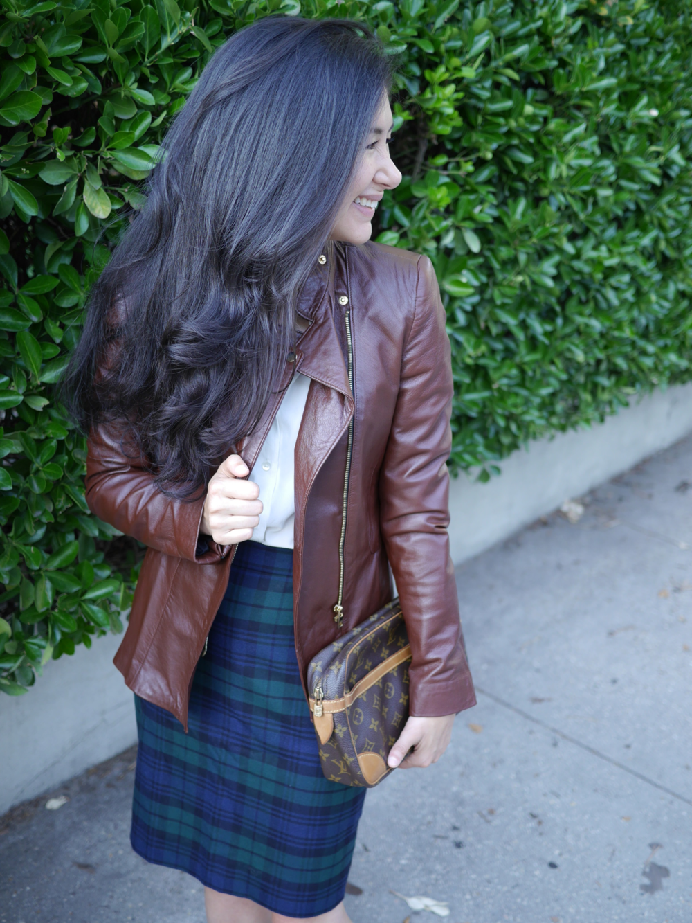 Fall Transitional Dressing Zara Leather Jacket J Crew Plaid Skirt Chanel Flats Everlane Shirt.JPG