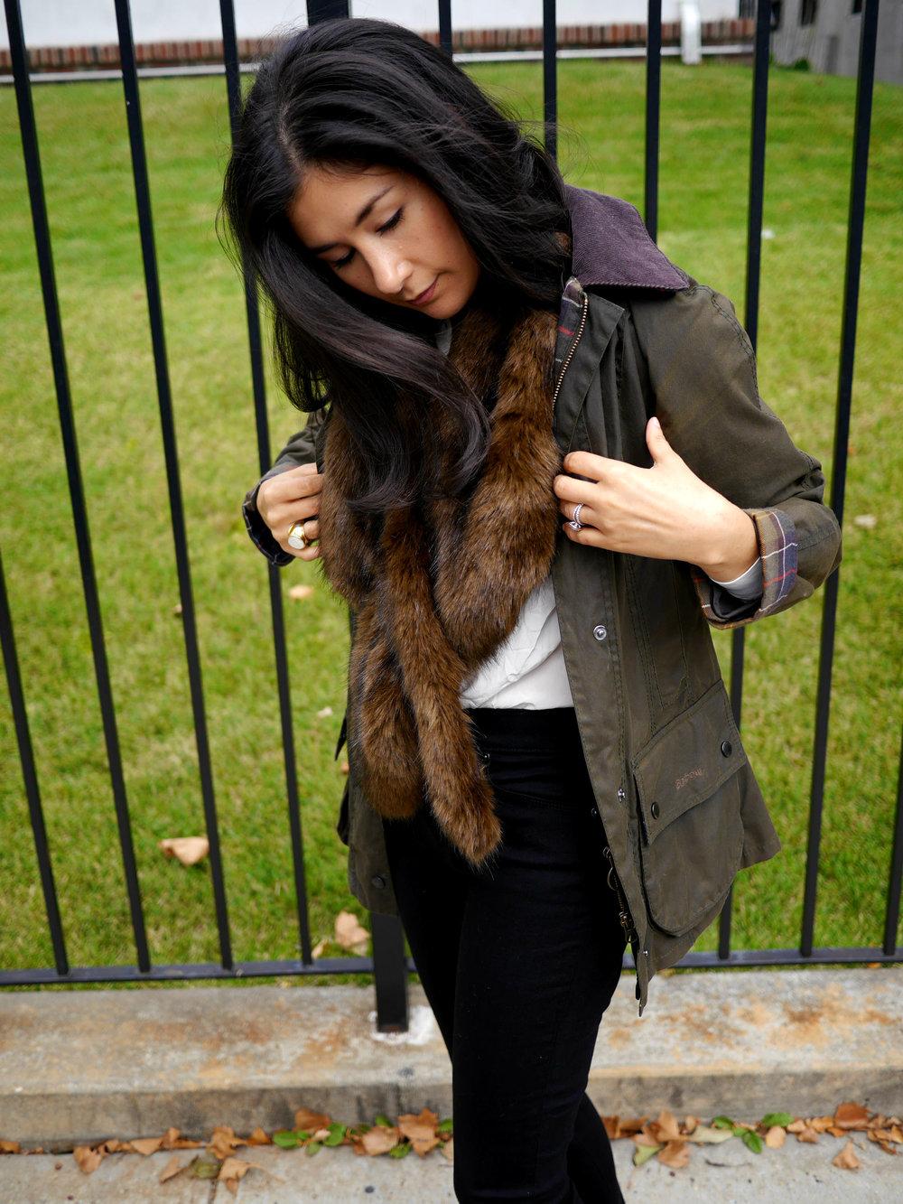 Barbour Jacket LOFT Skinny Jeans Gucci Loafers