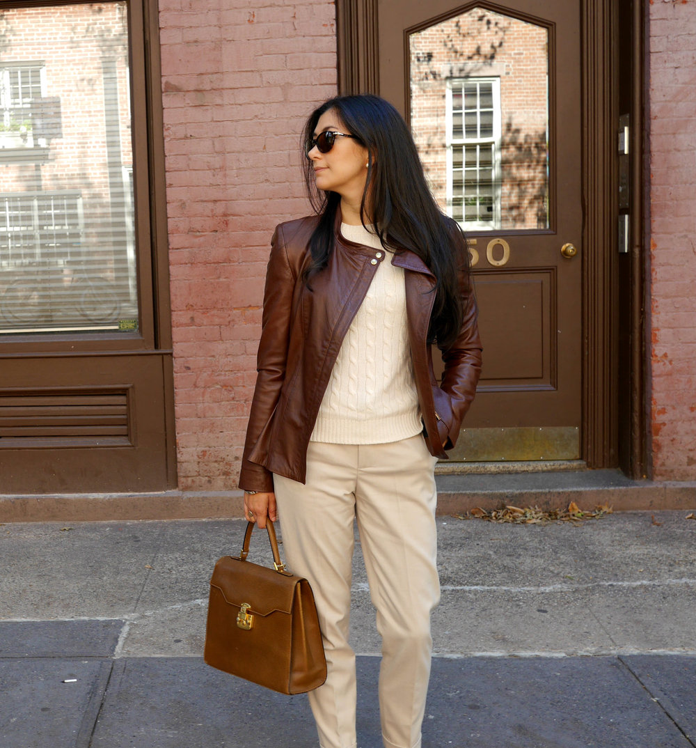 Zara Leather Jacket Zara Pants Vintage Gucci Bag Chanel Flats Cashmere Sweater