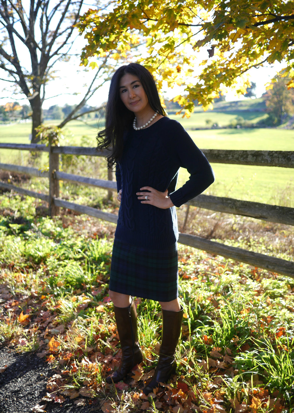 LL Bean Bailey Island Sweater J Crew No 2 Pencil Skirt Salvatore Ferragamo Boots