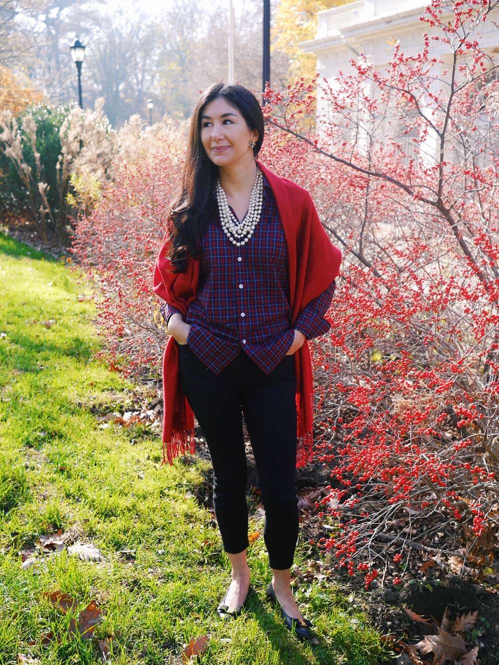 Christmas Outfit Ralph Lauren Plaid Shirt Red Shawl LOFT Black Skinny Jeans J Crew Earrings J Crew Pearl Necklace Salvatore Ferragamo Flats