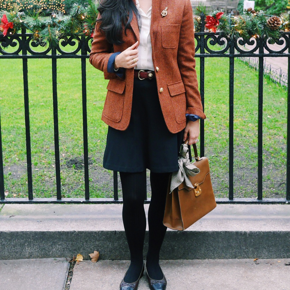 J Crew Rhodes Blazer Chanel Flats Gucci Kelly Bag Everlane Silk Shirt C Wonder Silk Scarf LOFT Black Skirt