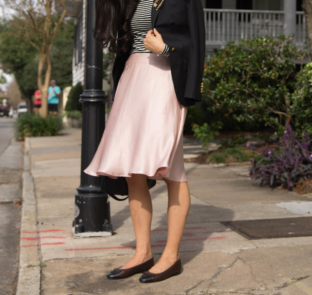 Banana Republic Pink Silk Skirt Brooks Brothers Navy Blazer J Crew Striped T Vintage Brooches Chanel Ballet Flats 6.jpg