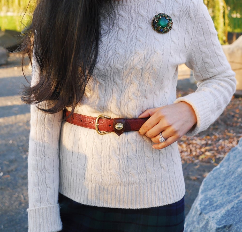 5 J Crew Blackwatch Pencil Skirt Cashmere Sweater Dooney and Bourke Belt Dooney and Bourke Purse Salvatore Ferragamo Boots Vintage Brooch David Yurman Cable Rings.jpeg