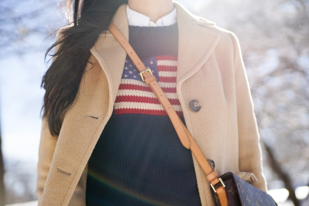 Ralph Lauren American Flag Sweater Ralph Lauren White Oxford J Crew Tortoise Shell Barette Hair Clip Louis Vuitton Crossbody Purse Brooks Brothers Camel Coat