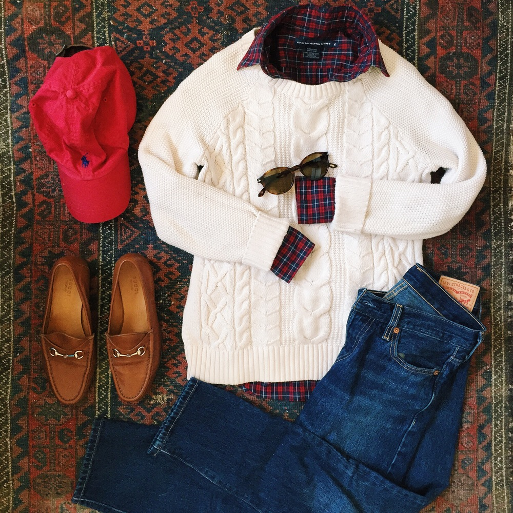 Ralph Lauren Plaid Shirt LL Bean Sweater Levis Jeans