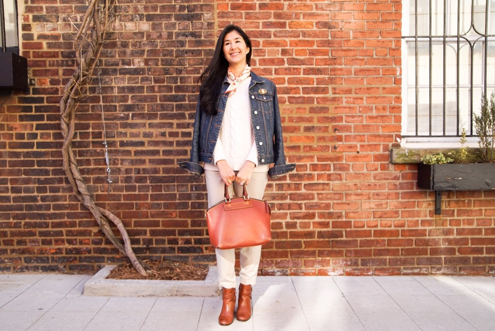 LL Bean Cable Knit Sweater Zara Pants Cole Haan Ankle Booties Dooney & Bourke Purse Ralph Lauren Silk Scarf J Crew Denim Jacket