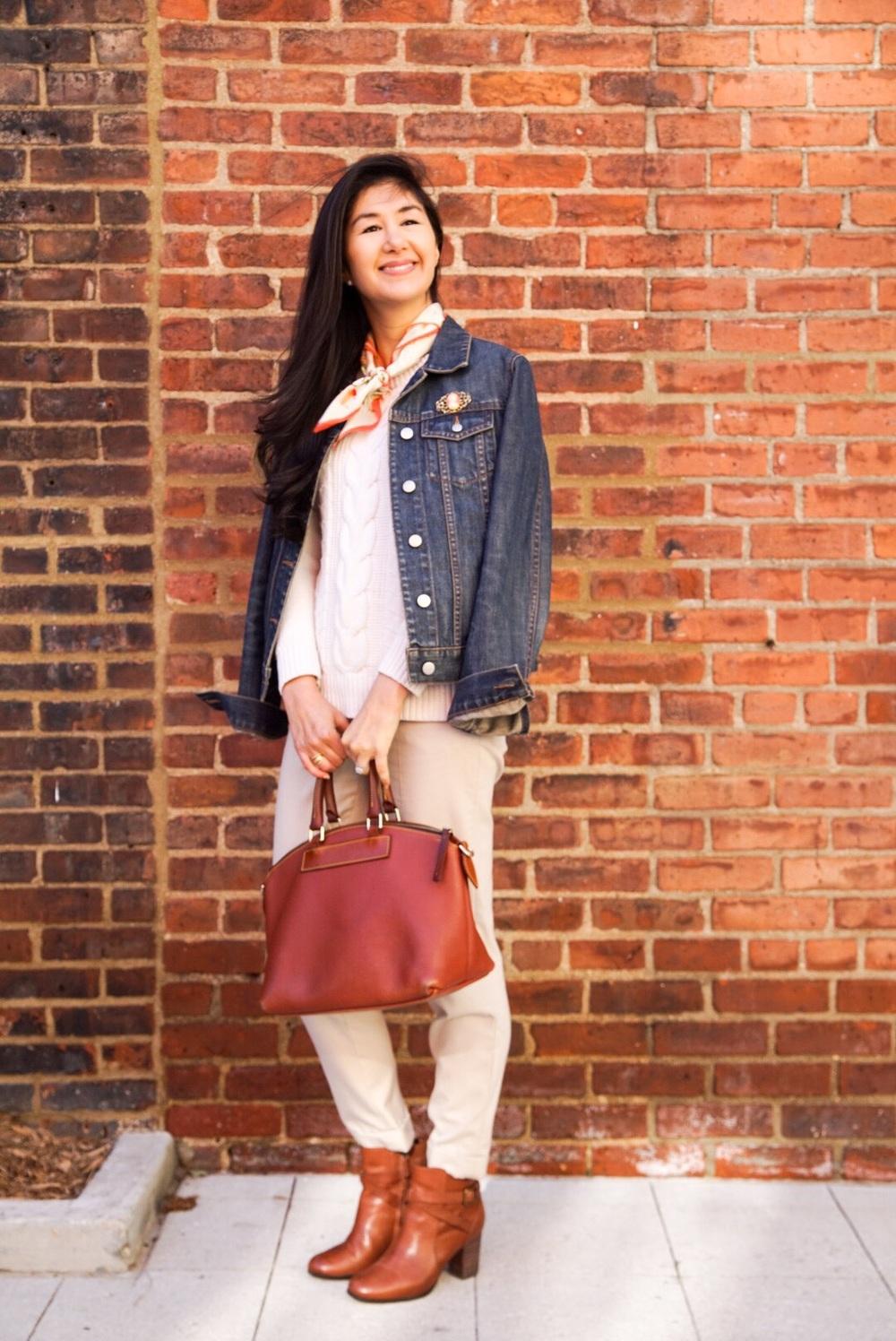 LL Bean Cable Knit Sweater Zara Pants Cole Haan Ankle Booties Dooney & Bourke Purse Ralph Lauren Silk Scarf J Crew Denim Jacket 7.jpg