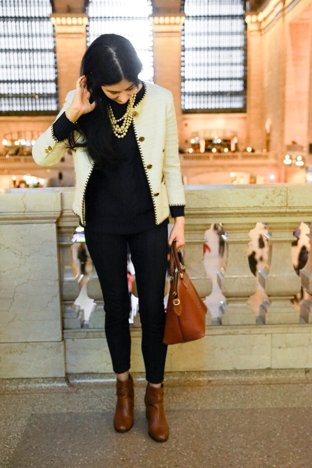 Zara Tweed Boucle Jacket J Crew Pearls LOFT Skinny Jeans Cole Haan Ankle Boots Dooney & Bourke Purse LL Bean Sweater 6.jpg