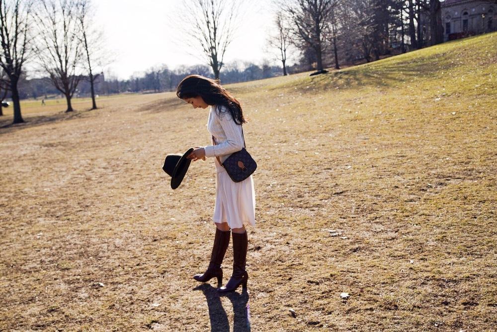 Banana Republic Silk Skirt Cashmere Sweater Louis Vuitton Crossbody Purse Salvatore Ferragamo Boots Forever 21 Fedora 9.jpeg