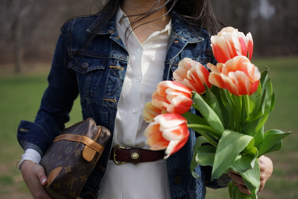 Spring Blooms - J Crew Denim Jacket Banana Republic Silk Skirt Everlane Round Collar Silk Shirt Massimo Dutti Belt Everlane Modern Point Louis Vuitton Clutch.JPG