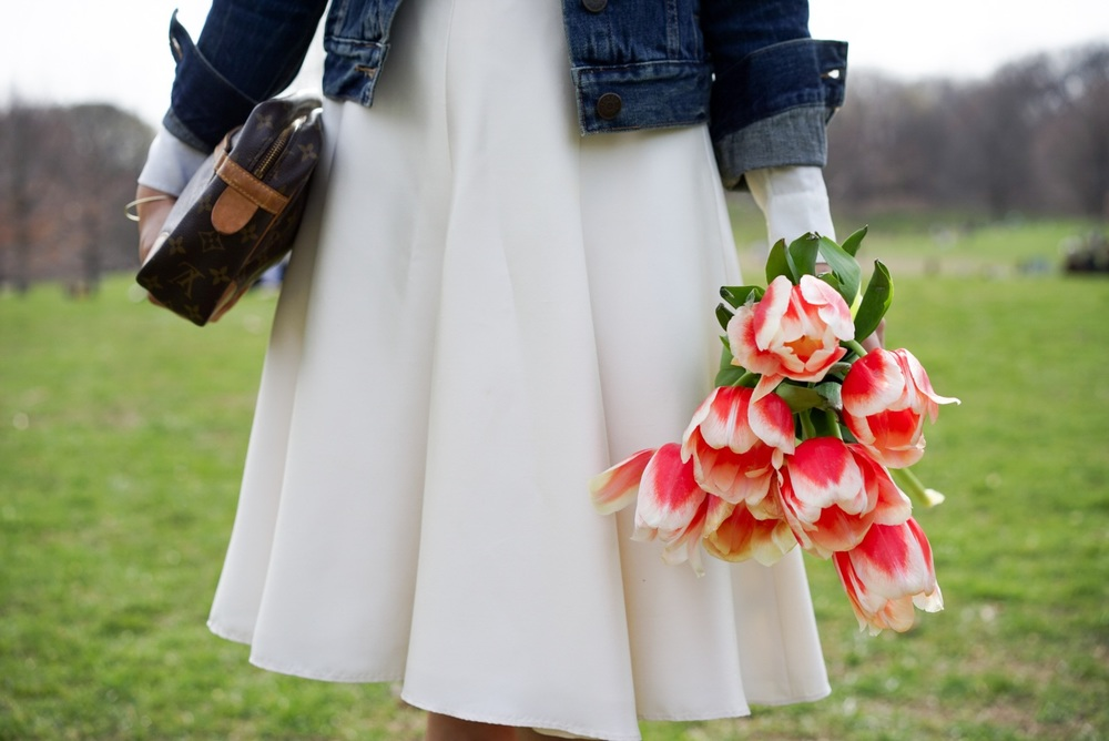 Spring Blooms - J Crew Denim Jacket Banana Republic Silk Skirt Everlane Round Collar Silk Shirt Massimo Dutti Belt Everlane Modern Point Louis Vuitton Clutch 7.JPG