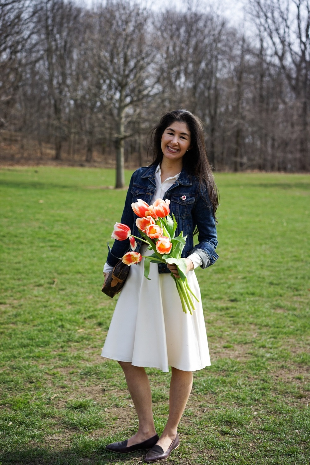 Spring Blooms - J Crew Denim Jacket Banana Republic Silk Skirt Everlane Round Collar Silk Shirt Massimo Dutti Belt Everlane Modern Point Louis Vuitton Clutch 20.JPG