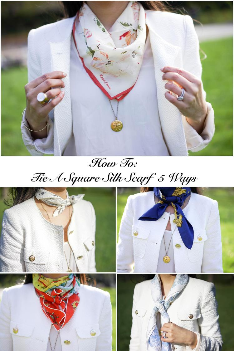 How to tie a square silk scarf 5 ways about how to tie a square as you know i love silk scarves not only do i love to collect these beauties but i also love styling them in different ways and love to wear them almost ccuart Images