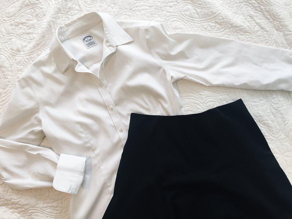 Brooks_brothers_white_shirt_LOFT_Black_skirt_capsule_wardrobe_uniform.JPG