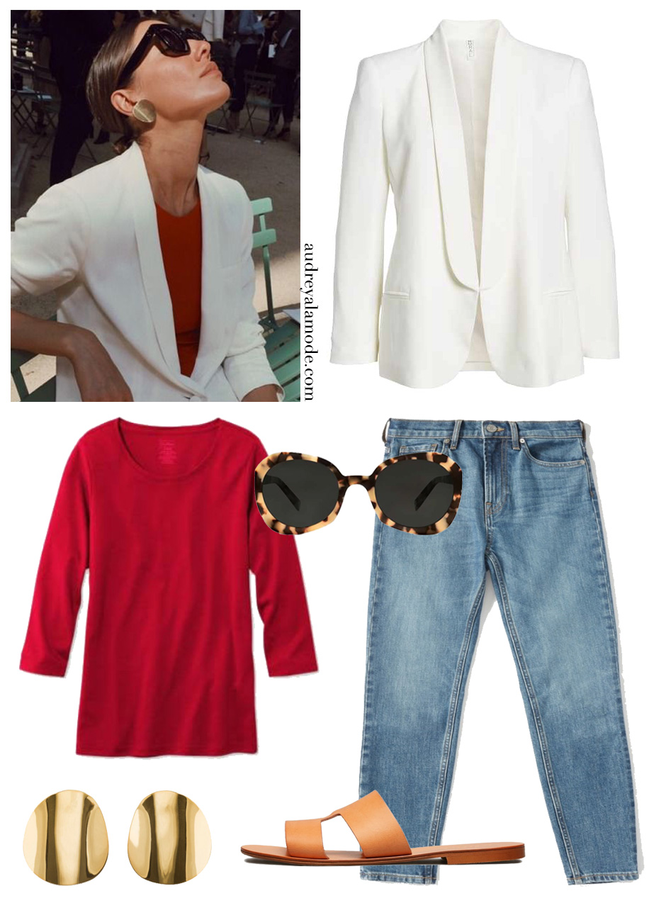 everlane-denim-llbean-red-tshirt-everlane-sandals-round-earrings-white-blazer.jpg