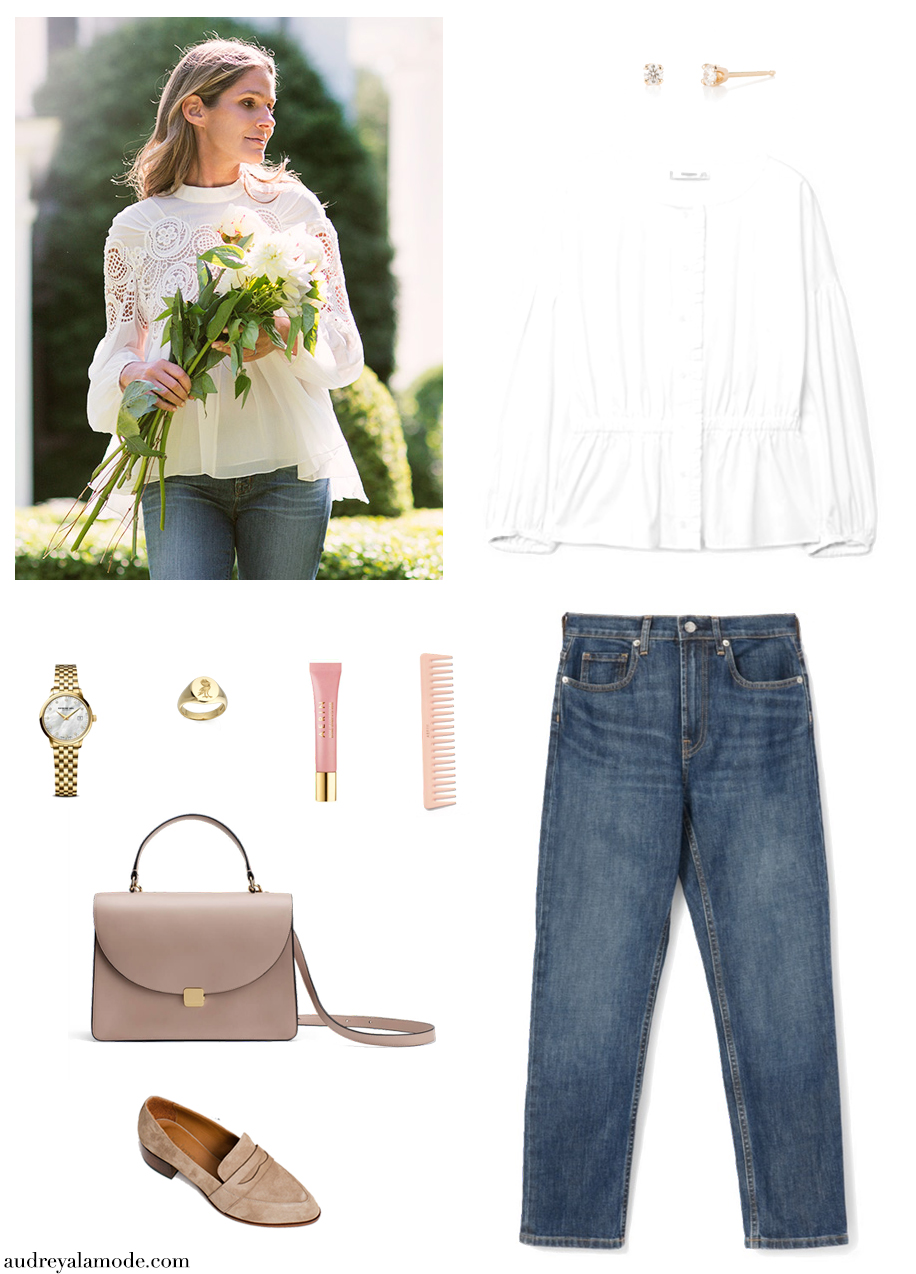 thelma-loafers-everlane-straight-leg-jeans-aerin-lauder-style-aerin-lauder-comb-cuyana-timex-watch-ruffs-signet-ring-ruffssignetring-mango-white-shirt.jpg