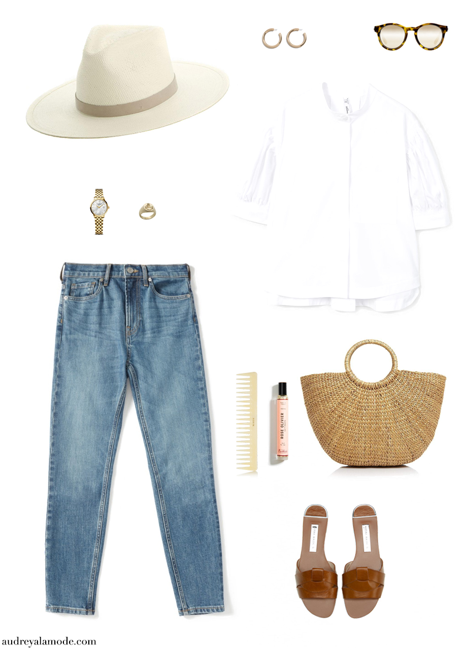 everlane-skinny-jeans-janessa-leone-hat-ruffs-signet-ring-ruffssignetring-zara-leather-sandals-hermes-sandals-straw-bag-outfit-timex-watch-mango-white-shirt.jpg