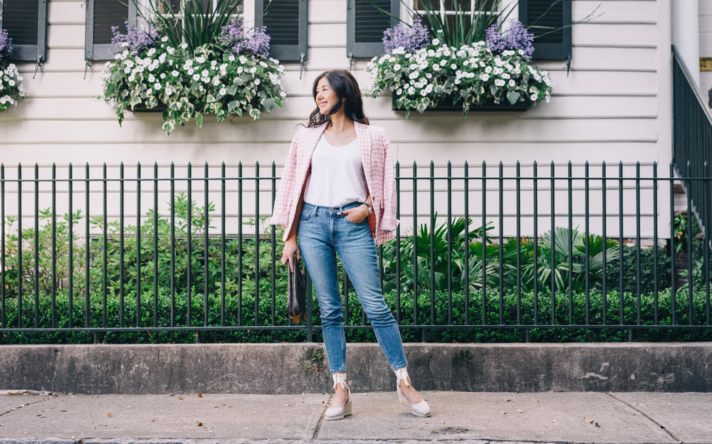 jcrew-gimgham-blazer-castaner-carina-espadrilles-louis-vuitton-clutch-everlane-jeans-everlane-tee-mejuri-diamond-necklace-jacy-watch-3.jpg