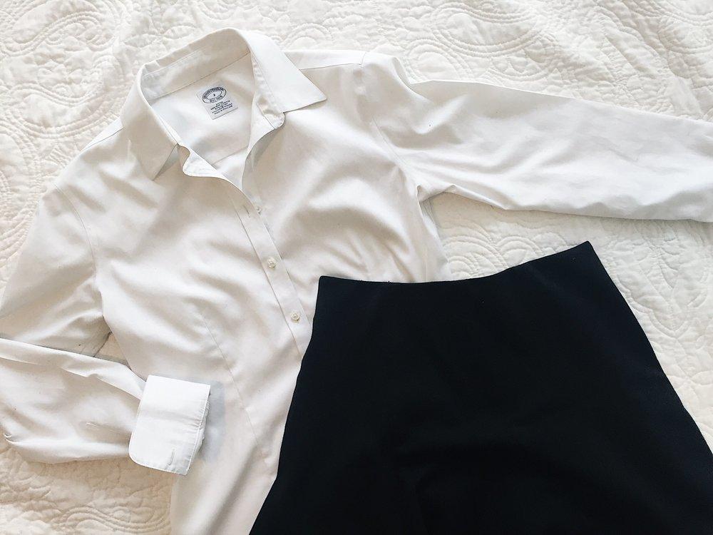 Brooks_brothers_white_shirt_LOFT_Black_skirt_capsule_wardrobe_uniform.jpeg