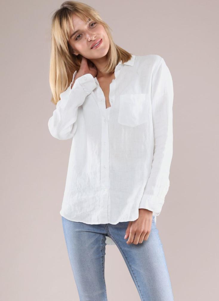 Linen Boyfriend Shirt $48