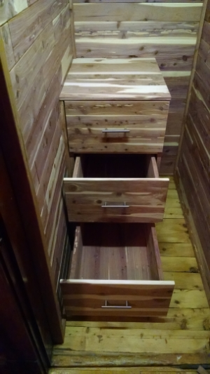 Custom Cedar Lined Closet With Cedar Drawer Unit And Shelves