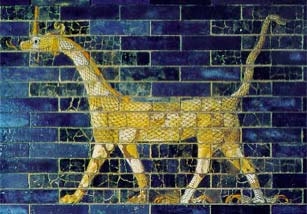 Glazed bricks and relief tile wall