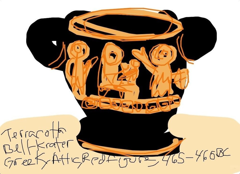 Terra-cotta Bell-Krater, Greek, Attic, Red figure, 465-460 BCE