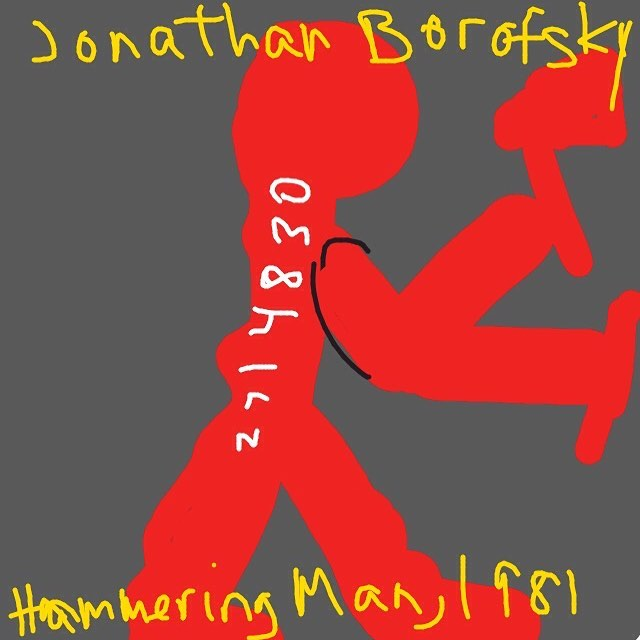 Hammering Man at 2715346, Jonathan Borifsky, 1981 at @whitneymuseum -- Learn more: http://dev.whitney.org/Collection/JonathanBorofsky #whitneymuseum #museumdraw #jonathanborofsky