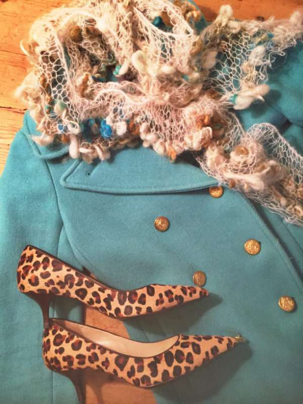 J Crew jacket with Cole Haan animal print pumps