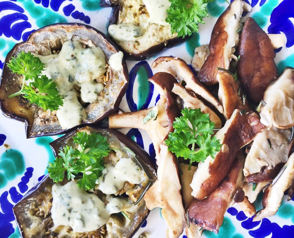 Eggplant with cilantro dressing and cremini mushrooms