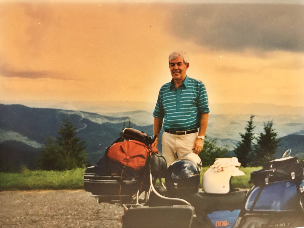 Photo of my Dad in the 80's on one of his many road trips across America.