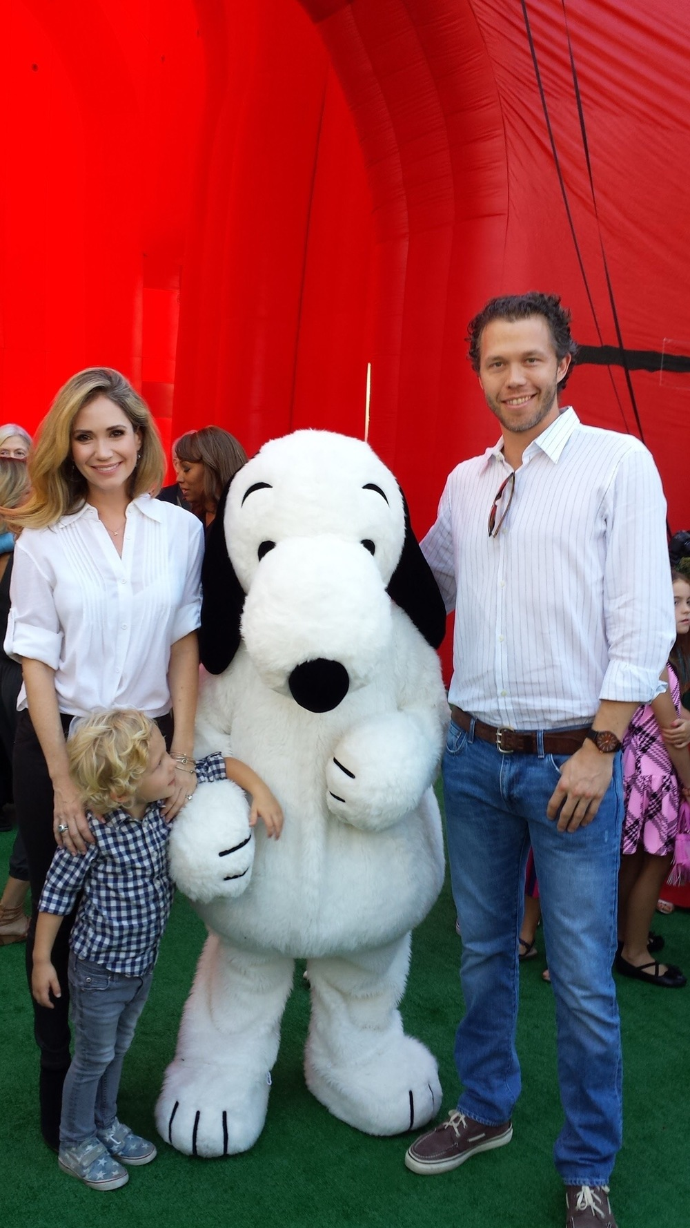 Huck, joel and I meeting snoopy.