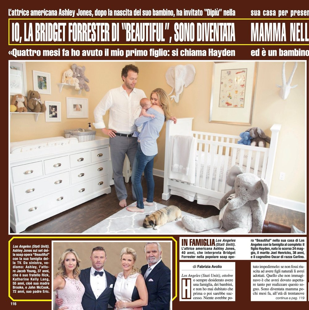 The Italian Magazine,  DiPiu,  featured a sweet story about Hayden when he was only a little over 2 weeks. His nursery was barely finished, but we had some of the basics up. Boy, that time was nutty... no sleep is an understatement.