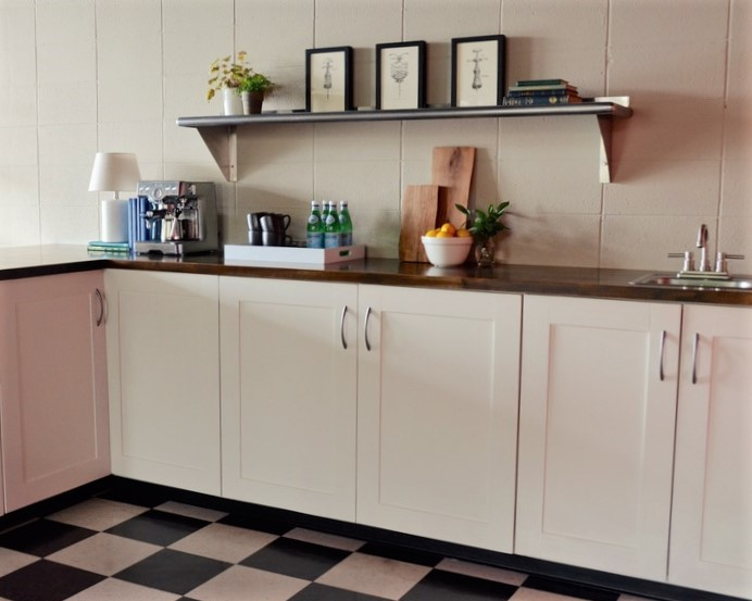 kitchenette with shaker doors