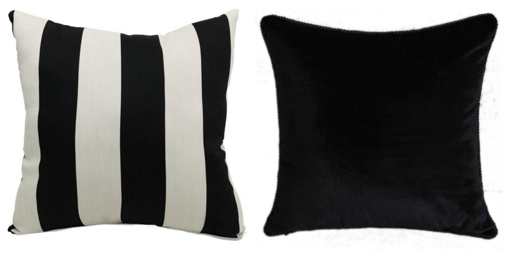 BLACK AND WHITE CABANA PILLOW                                                     BLACK VELVET PILLOW