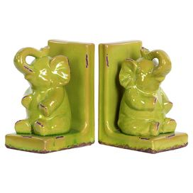 GREEN ELEPHANT BOOKENDS