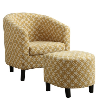 YELLOW BARREL CHAIR AND OTTOMAN