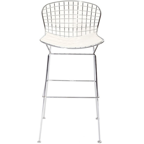 WHITE CHROME BERTOIA STOOL