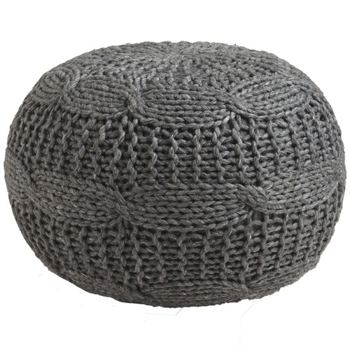 CHARCOAL WOOK KNIT POUF