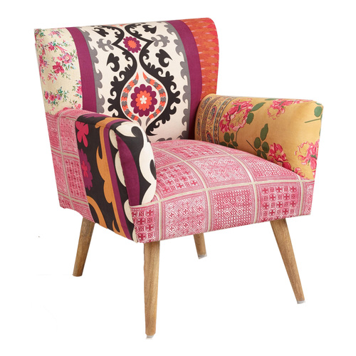 MIXED PRINT ARM CHAIR