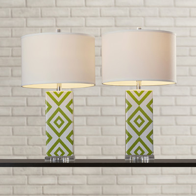 GREEN AND WHITE TABLE LAMPS
