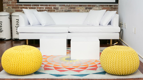 WHITE LEATHER CLAIRE SOFA WITH YELLOW POOFS