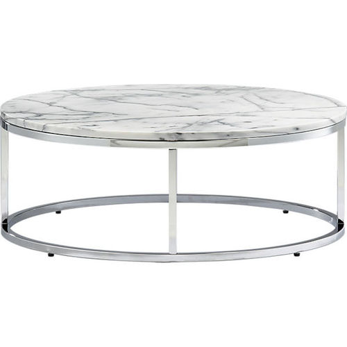 PICTURED: Round Chrome Coffee Table With Marble Top