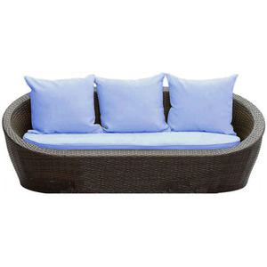 Our Boat Sofa with blue cushions -  a set fit for outdoor living room comfort and style. Who wouldn't enjoy summer nights laid out on that sofa?