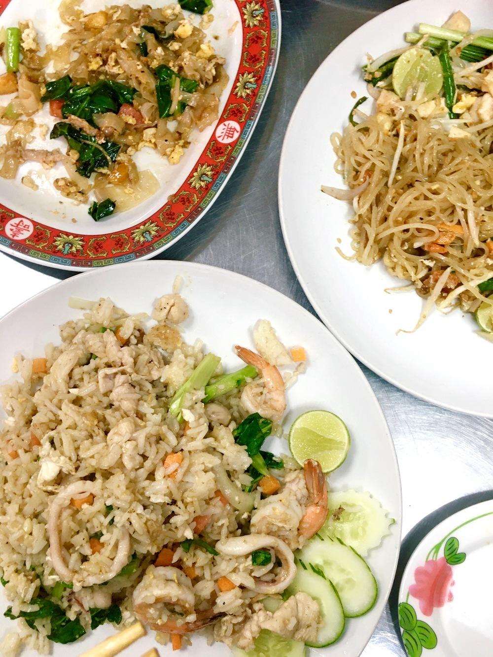 from L to R, pad Kee mao, pad thai, seafood fried rice.jpg